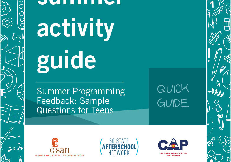 Quick Guide- Summer Programming Feedback: Sample Questions for Teens